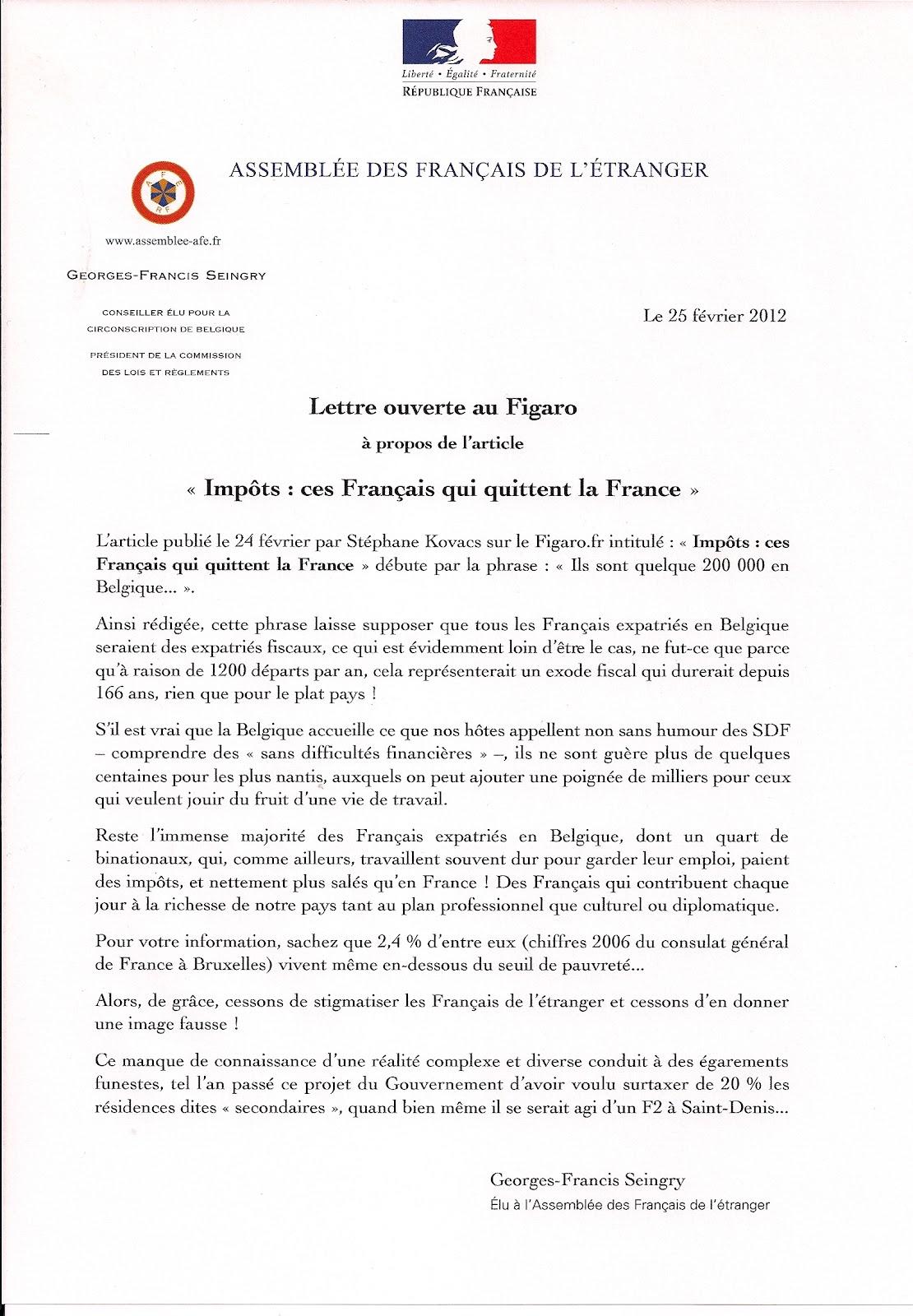 Seingry 2012 lettre au figaro sur ces fran ais qui for Cuisinier francais 6 lettres