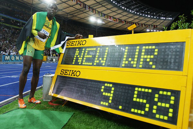 Usain Bolt after setting 100m World Record