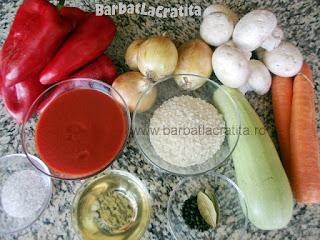 Tocana de legume cu orez si ciuperci ingredientele retetei