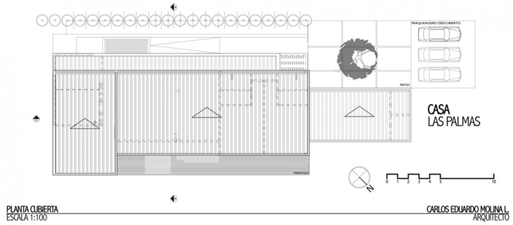 Roof floor plan of Modern architecture house by Carlos Molina