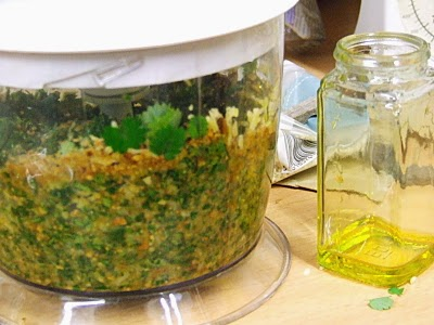 salad burnet pesto in blender
