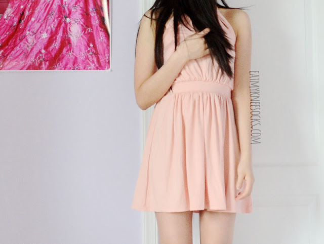 More photos of WalkTrendy's pink halterneck chain-embellished mini dress.