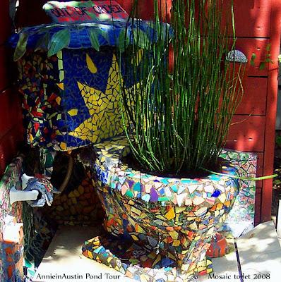 Annieinaustin, mosaic toilet from pond tour