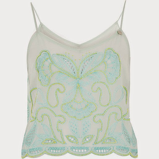 pale green embroidered cami top