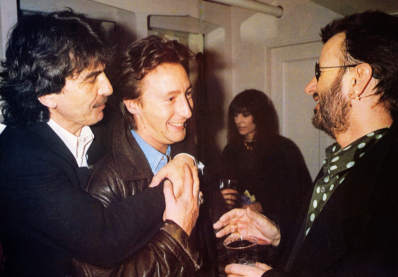 George Harrison Julian Lennon Maureen Starkey Tigrett And Ringo Starr Backstage At The Royal Albert Hall For Natural Law Party 1992