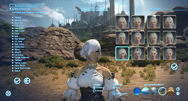 Final Fantasy XIV character creation screen appearance hairstyle selection