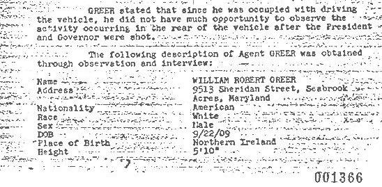 The FBI took down Bill Greer's complete physical description on the night of 11/22/63