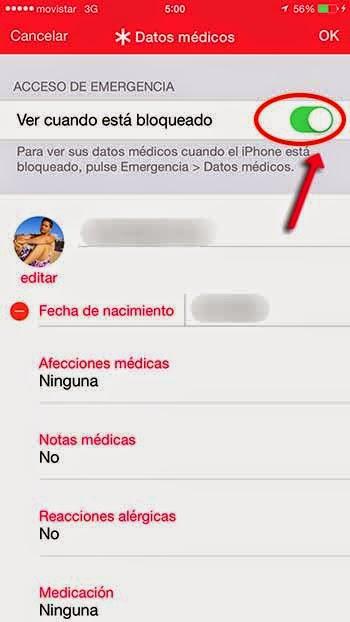 SOS Datos médicos pantalla bloqueada iphone