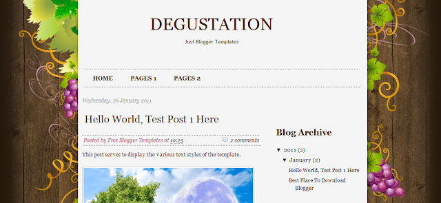 Wine Theme Blogger Template