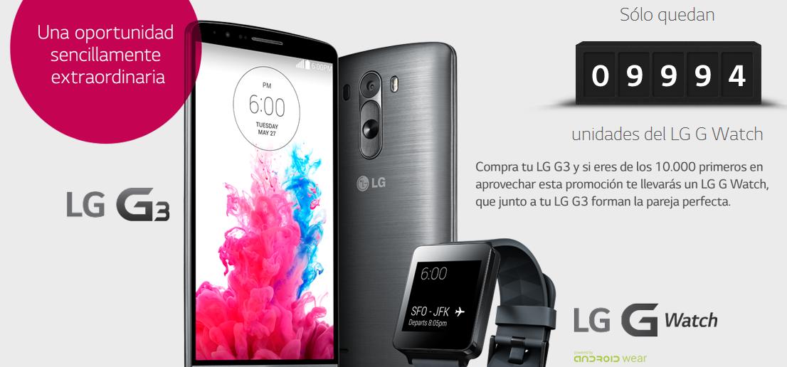 Promoción, por la compra del LG G3 de regalo LG G Watch.
