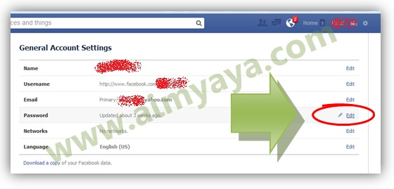 Gambar: Mengatur General Account Settings di facebook