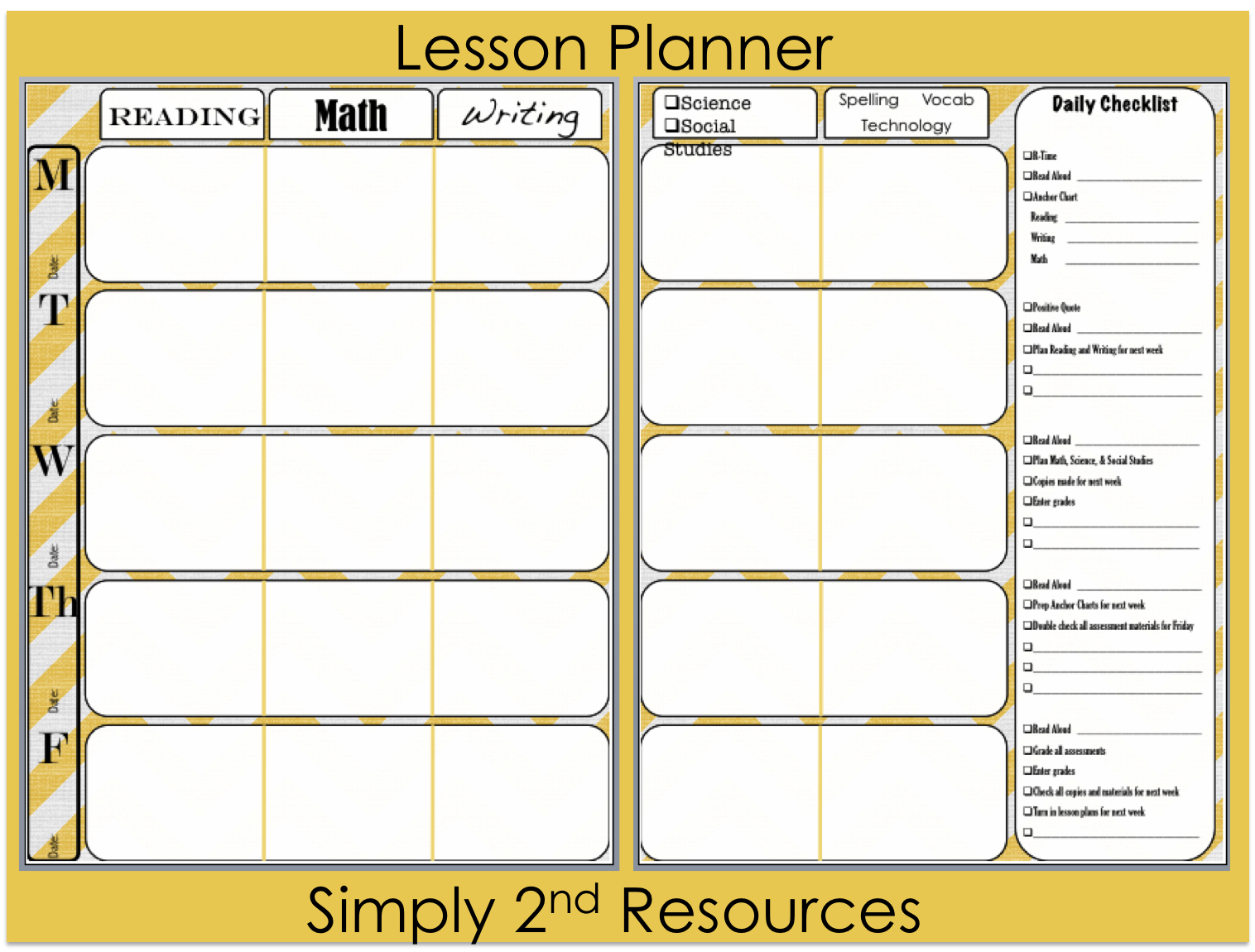 Simply 2nd resources lesson plan template so excited to for Free lesson plan templates