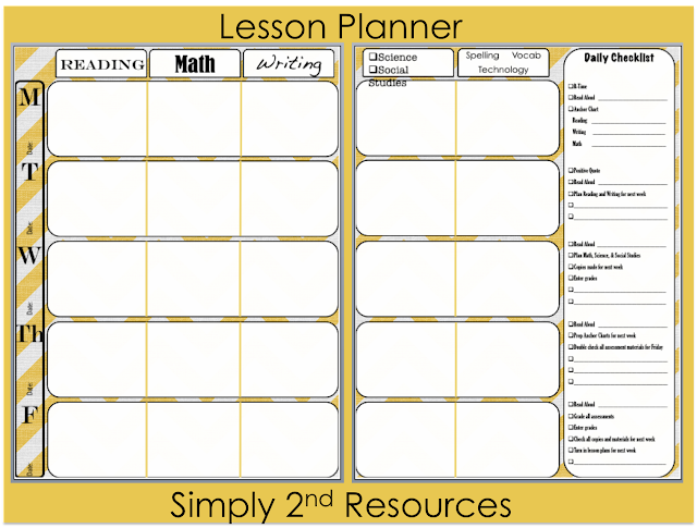 Simply 2nd Resources: Lesson Plan Template ~ So Excited to Share!!!!!