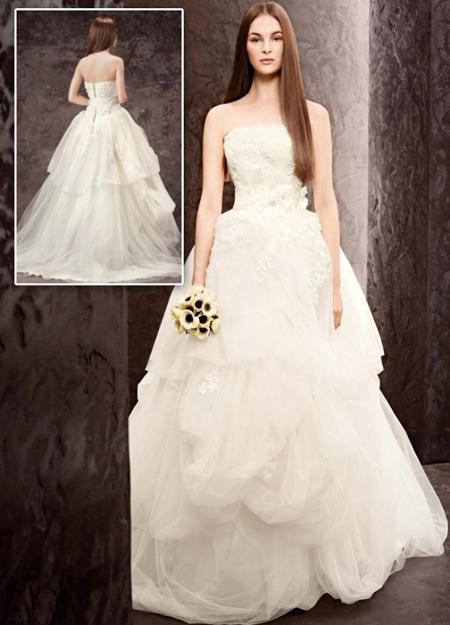 Сватбена рокля от тюл с дантела на Вера Уанг - колекция пролет 2013 White by Vera Wang
