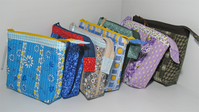 Quilt As You Go Zippered Pouches  - makeup bag, cosmetic bag, lots of uses ~ Threading My Way