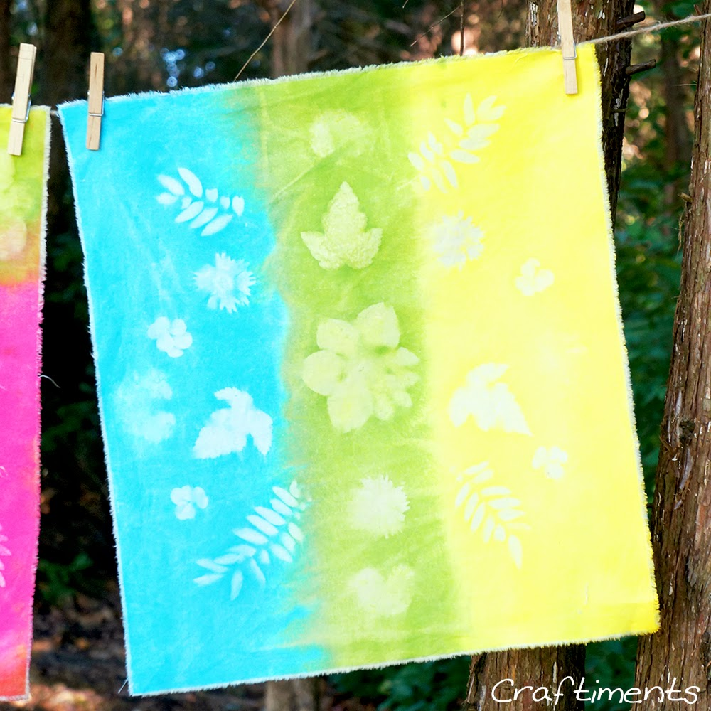 Craftiments:  Faux sun prints on fabric using acrylic craft paint