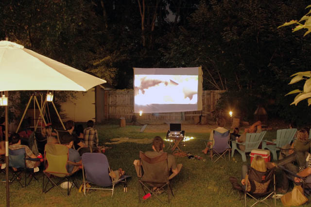 Backyard Movie Night Party : Black And White And Loved All Over A Backyard Movie Night