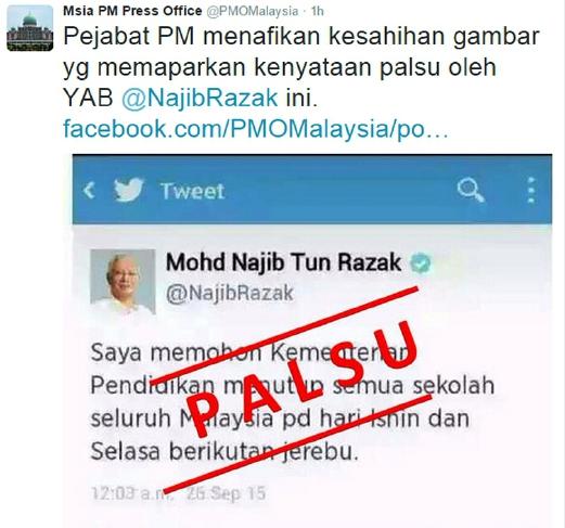 Arahan sekolah ditutup pada Isnin, Selasa oleh PM di Twitter adalah palsu