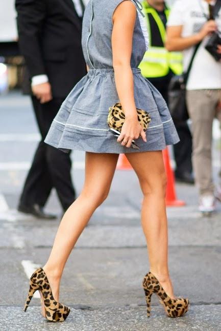 Grey mini dress and leopard pumps