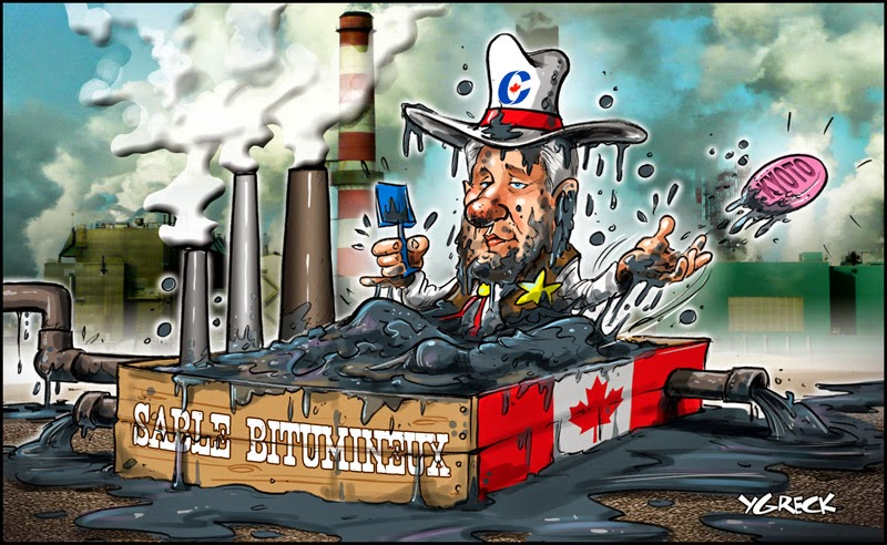 Ygreck: Stephen Harper in Tar Sands bath.