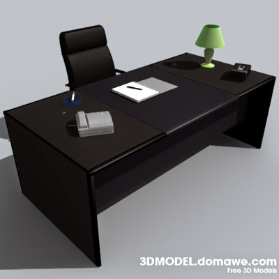Free design elements office desk free 3d model furniture for Office table 3d design