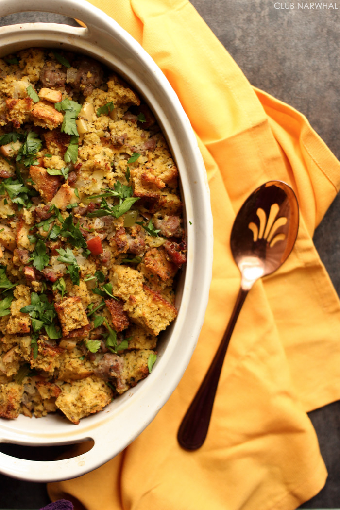 Cornbread Stuffing with Sausage and Apples | My very favorite stuffing ...