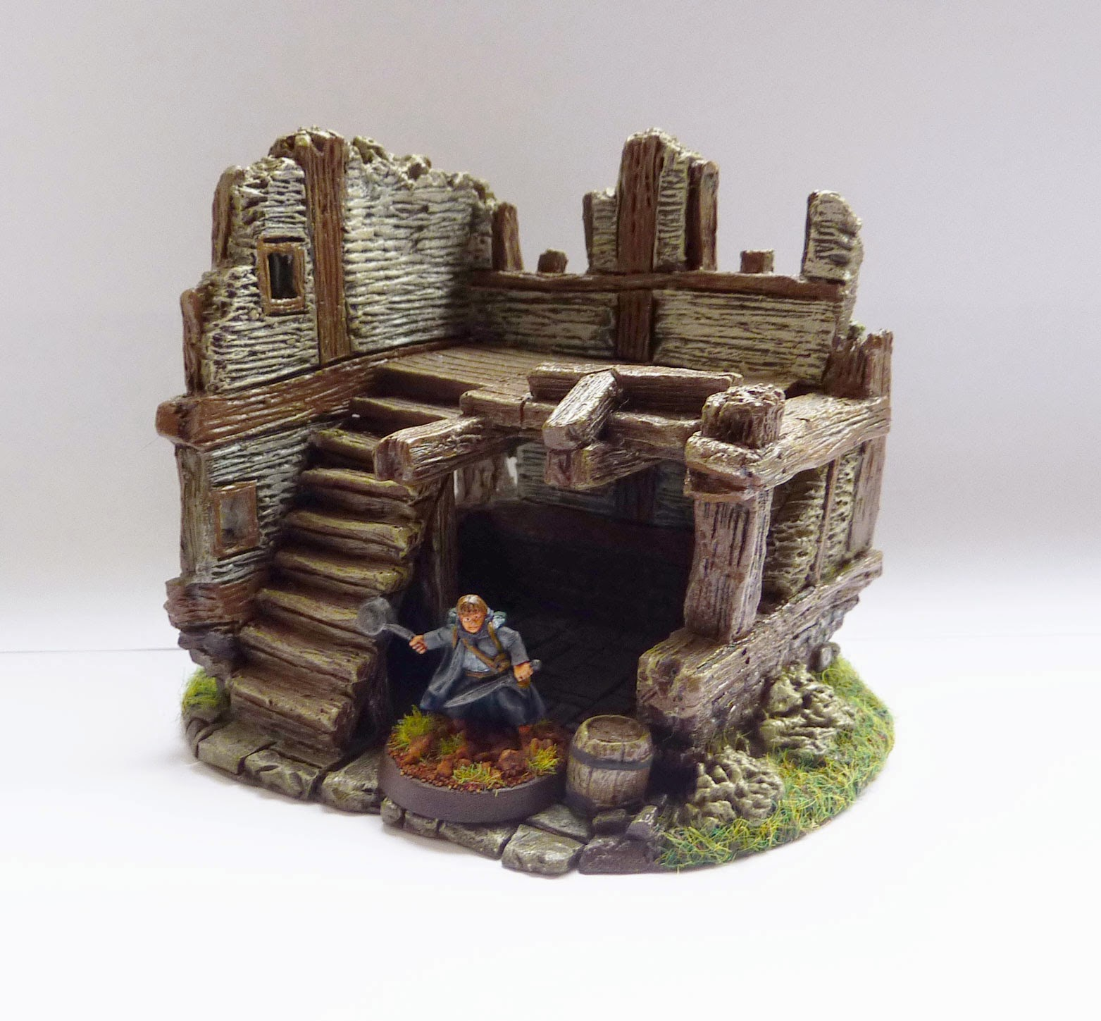 Resin-cast painted ruined buildings