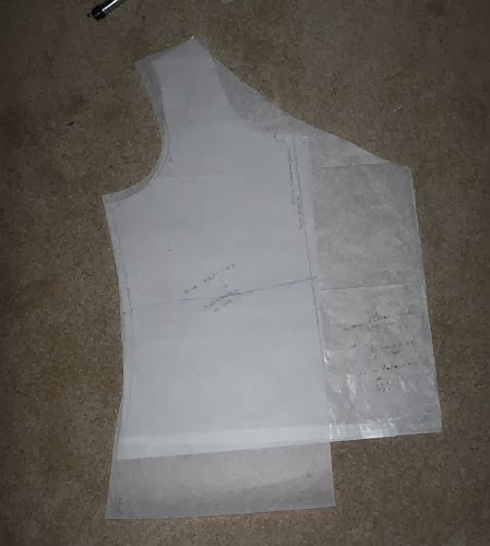 This is my tnt front bodice laid over the tracing to give you an idea