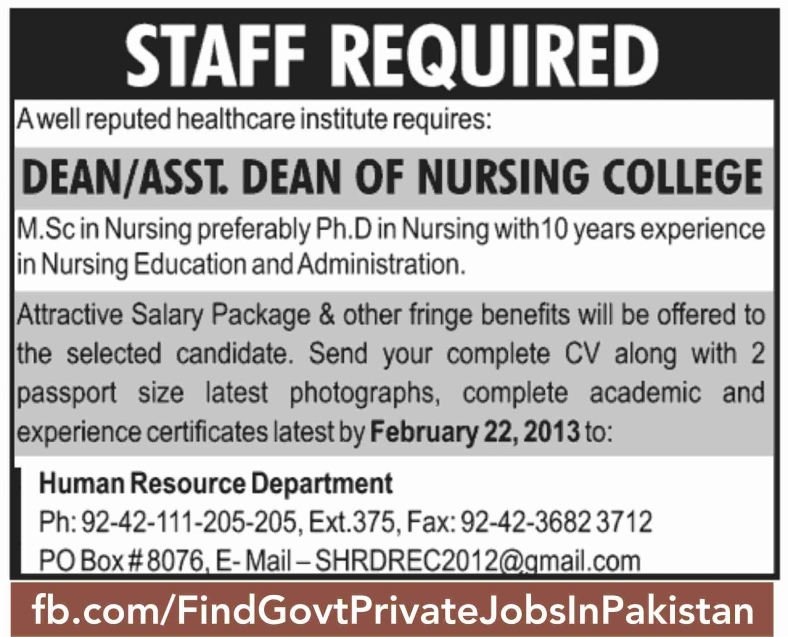 staff required published in jang sunday