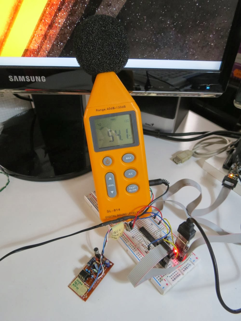 Davide Gironi A Simple Sound Pressure Level Meter Spl Db Audio Using Microphone With An Arduino Electrical Engineering Avr Atmega