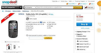 Nokia Asha 201 available online for Rs. 3,990