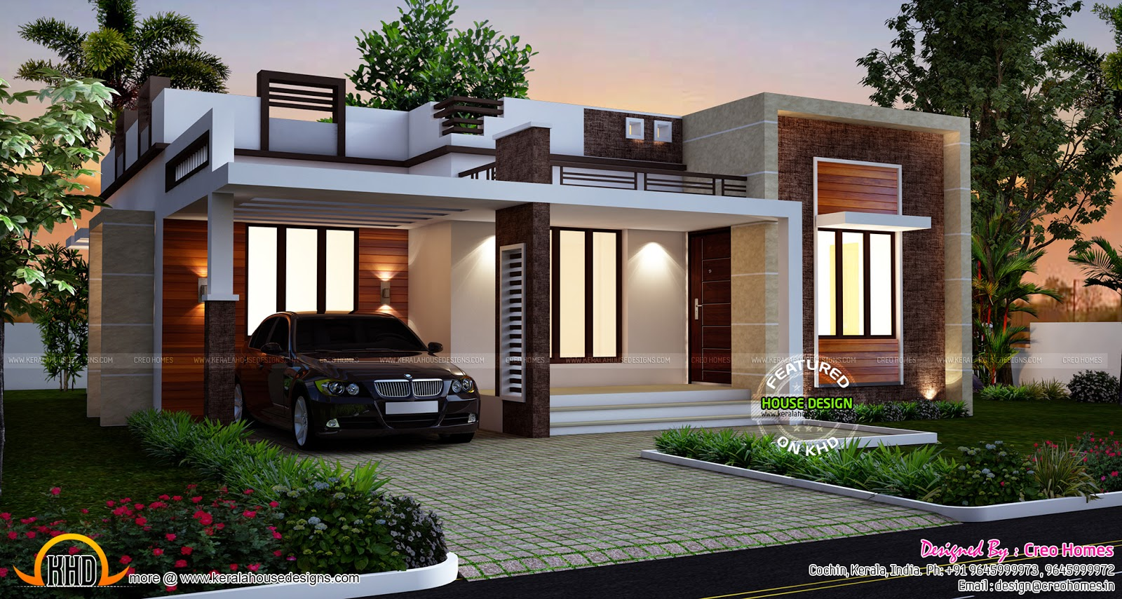 3 beautiful small house plans kerala home design and for Modern 3 bedroom house plans and designs