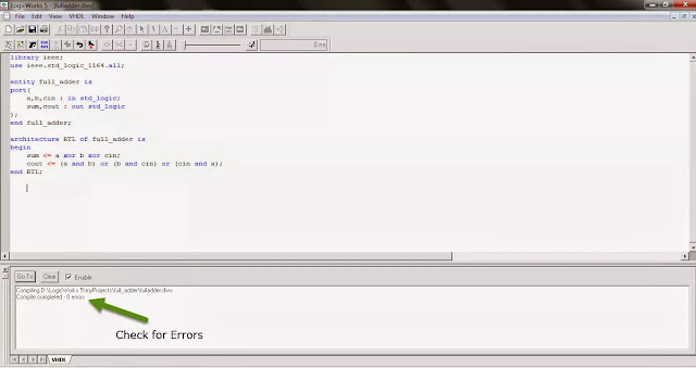 check for errors in vhdl