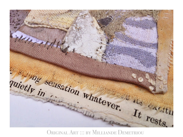 """ She who Rests as it Were, Quietly ' '  SWHO 3 :: ORIGINAL ART FOR SALE by contemporary mixed media artist Milliande Demetriou, Shop at http://artstudioblog.milliande.com, #art #textiles #unrulyclothcanvas"