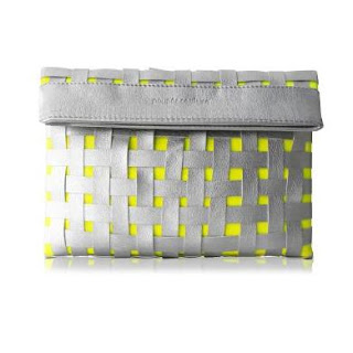 Woven Clutch in neon and silver