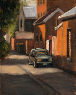 Oil painting of a car in a laneway beside residential buildings.
