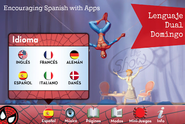 Using English storybook apps to encourage Spanish dual language learning for kids.