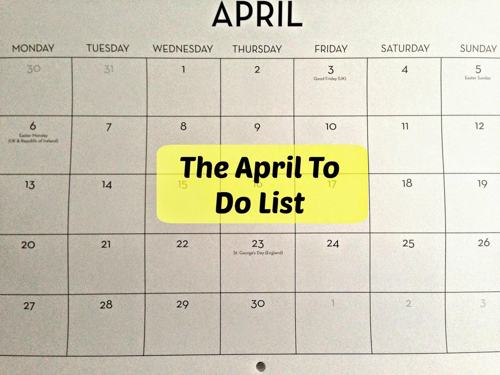 April To Do List 2015