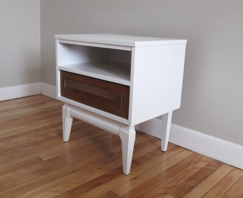Blue lamb furnishings white wood mcm nightstand sold for White wood nightstand