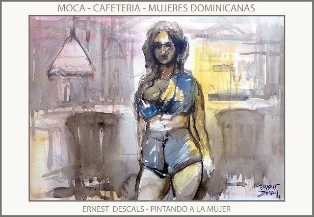 REPUBLICA DOMINICANA-PINTURA-MOCA-MUJER-CAFETERIA-MUJERES-DOMINICANAS-PINTURAS-PINTOR-ERNEST DESCALS-