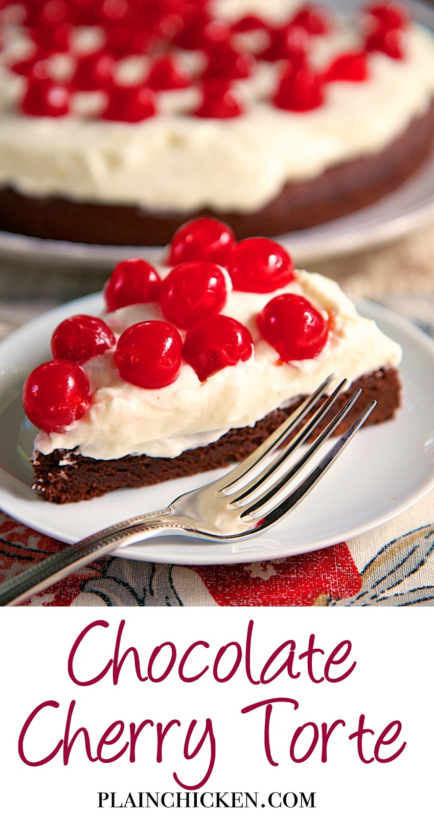 Chocolate Cherry Torte - brownie base topped with a whipped cream and mascarpone frosting. It is to-die-for! A real show stopper! Perfect for the holidays.