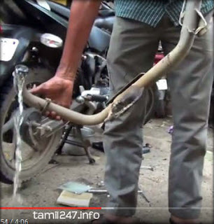 drain water from bike silencer in chennai floods affected two wheeler