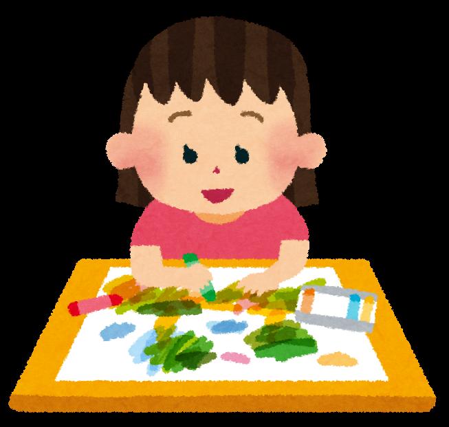 お絵描きをしている女の子の ... : 幼稚園 ひらがな : ひらがな
