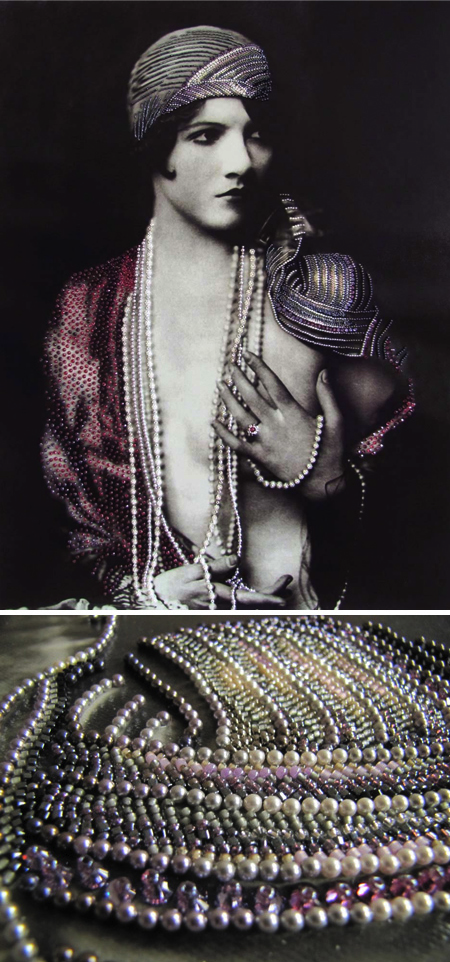 Beaded antique photographs of 1920s women