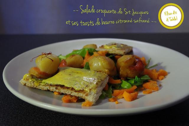 Salade croquante de St Jacques et ses toasts de beurre citronné safrané