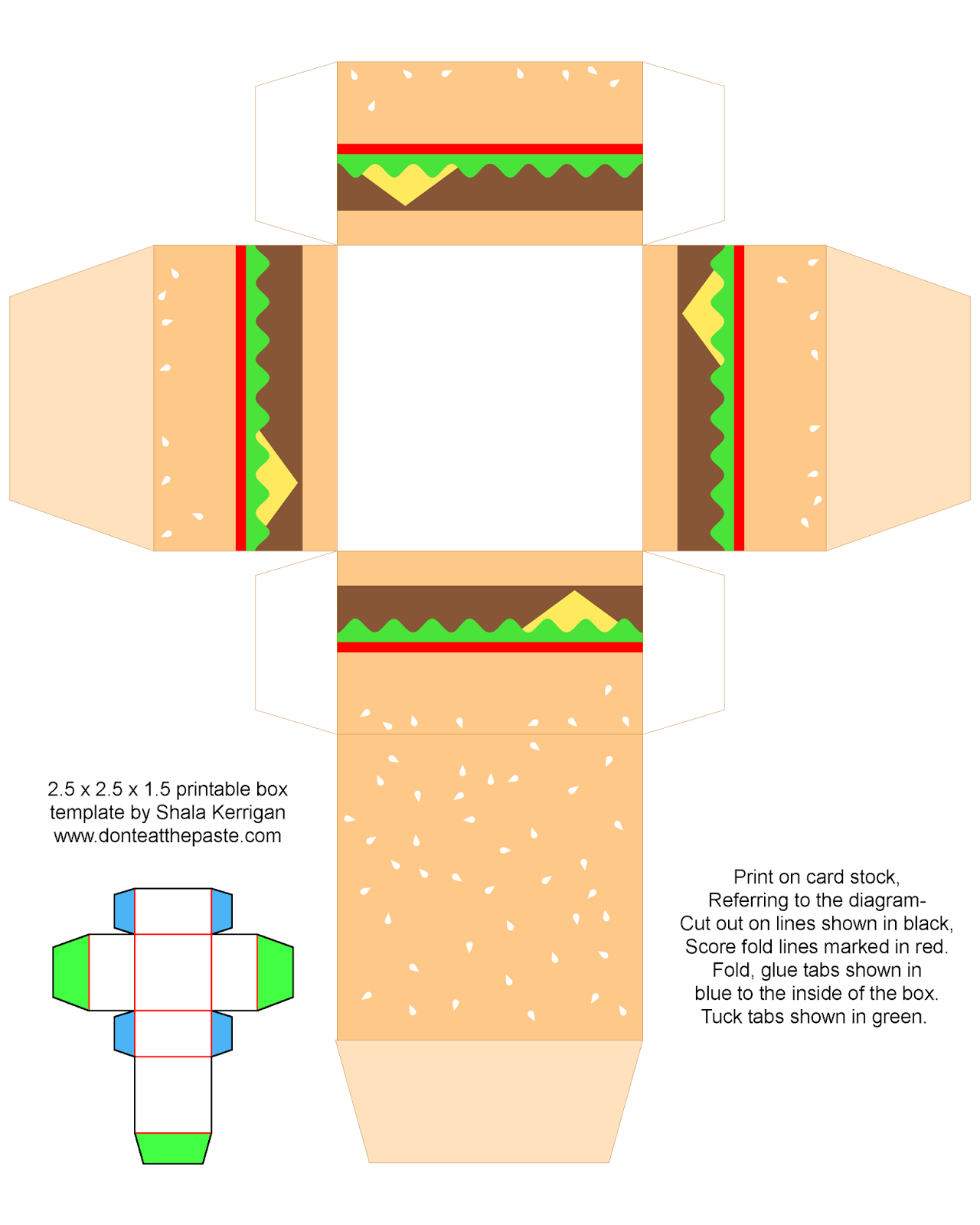 Printable cheeseburger box- also available with a cute face.