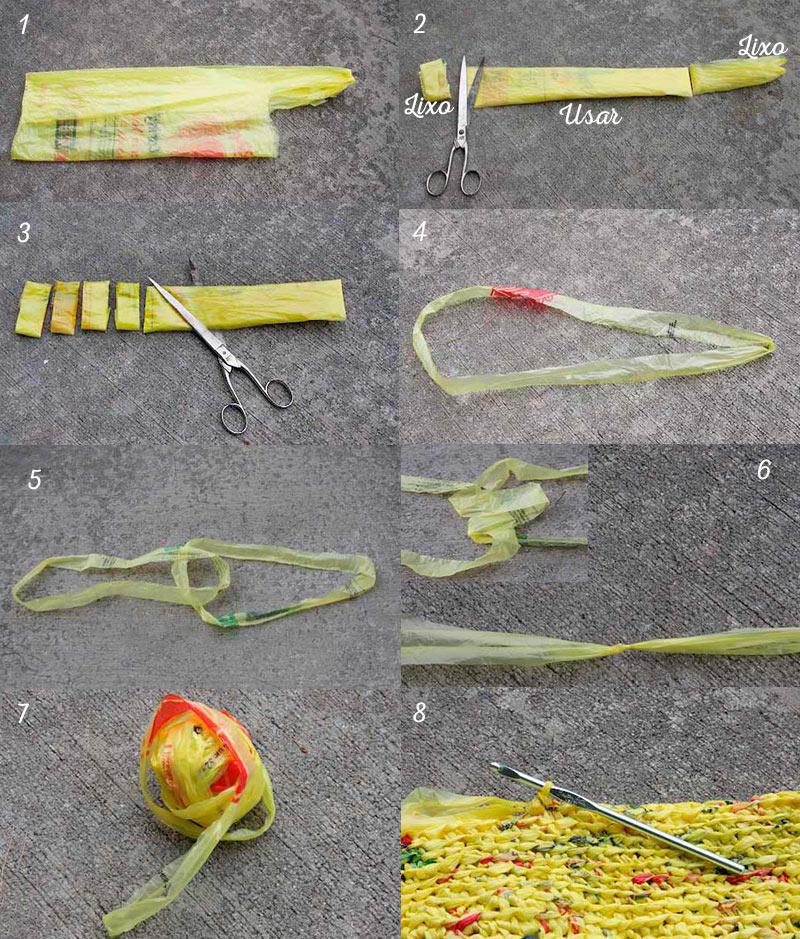 Como fazer crochê com sacola de plástico
