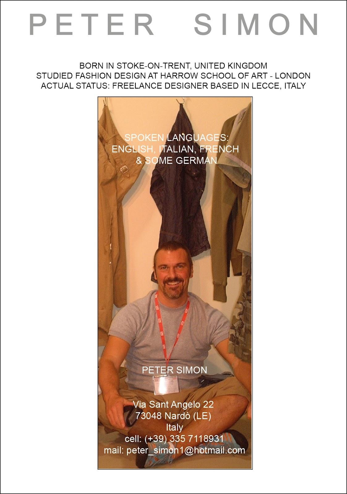 peter simon - designer  curriculum vitae