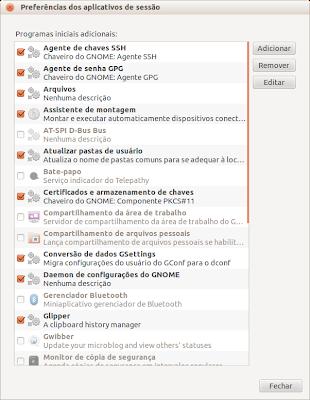 Preferencias dos aplicativos de sessão - screenshot 1