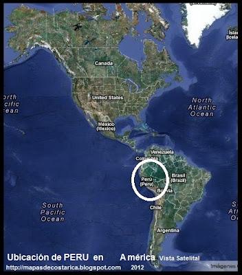 Ubicación de PERU en América, Vista Satelital